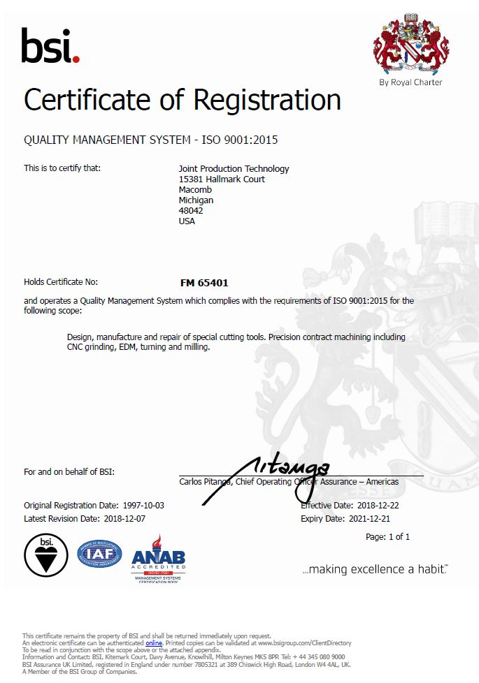 ISO-9001:2015 Quality Certificate